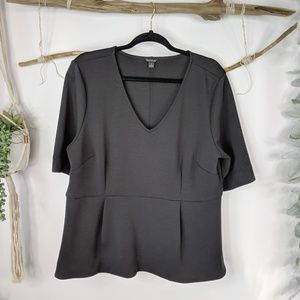 ANN TAYLOR black ponte knit pleated detail top